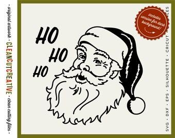 SVG Santa Face svg Retro Vintage Santa svg original art svg christmas ho ho ho santa claus- DXF eps PNG Cricut & Silhouette - commercial use