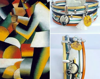 """Malevich"" multicolor leather Cuff Bracelet"