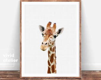 Giraffe Print, Giraffe Wall Art, Nursery Decor, Nursery Animal Print, Safari Nursery Art, Nursery Printable, Nursery Wall Art, Giraffe photo