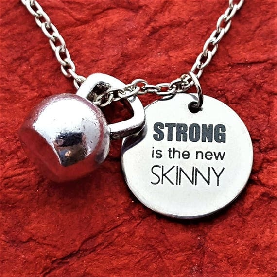 CrossFit Jewelry, Kettlebell Necklace, Fitness CrossFit MMA Gifts, STRONG is the new SKINNY Quote, Boxer Strength Motivational Word Charms