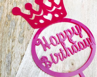 CLEARANCE! 1 ONLY Pink Crown Cake Topper Crown Happy Birthday Cake Topper Cake Decoration Princess Crown Cake Toppers Crown Cake Decoration