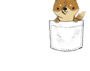 pocket shiba shiba-inu T-shirt / pocket shirt / dogs shirt / shiba inu lovers / dog lovers / cute dogs shirt / pocket tees / shiba inu shirt