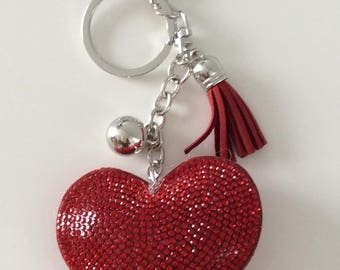 Beautiful red Rhinestone Heart Keychain personalize with name