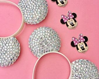 Disney inspired Minnie Mickey sparkly rhinestone diamond bedazzled ears