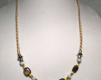 Burgundy and yellow necklace