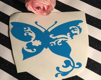 Butterfly With Swirl Wings , Flourish Insect Car Decal , Butterfly Lover Present , Girly Yeti Decal , Pretty Nature Lover Gift , Spring Gift
