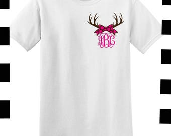 Womens monogrammed shirt with antlers and bow , left chest monogram tee , southern girl personalized t shirt , redneck shirt , gift for mom