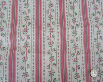 Almost 5 yards vintage pillow ticking pink stripes