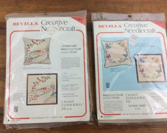 Lot of 2 vintage Bucilla crewel embroidery pillow kits