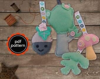 Felt Pattern-Felt-Woodland Tree-Acorn-Toadstool-Acorn Leaf- Decor-Sewing Pattern Tutorial-Felt PDF Pattern-DIY Gift-Felt Woodland