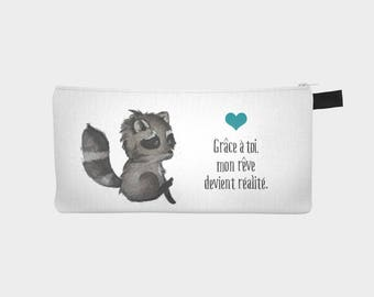 "Custom order - trunk pencil or makeup case ""Little raccoon"""