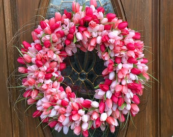 Spring Tulip Wreath - Tulip Wreath - Easter Wreath - Spring Floral Wreath - Spring Wreath - Easter Tulip Wreath - Mothers Day Tulip Wreath