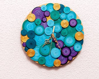 Handmade wall clock, 1st anniversary gift, home decoration, personalized, quilling art, unique wall clock, peacock wall decoration