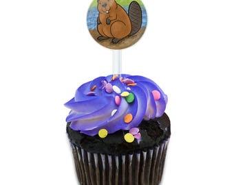 Beaver Cake Cupcake Toppers Picks Set