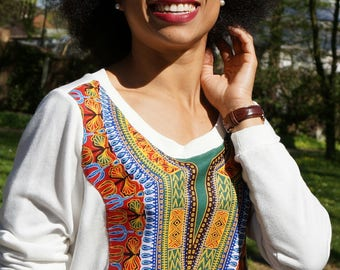 Sweater with African Fabric