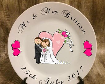 personalised wedding plate, personalised wedding photo, personalised wedding gift, wedding gift, display plate, anniversary gift