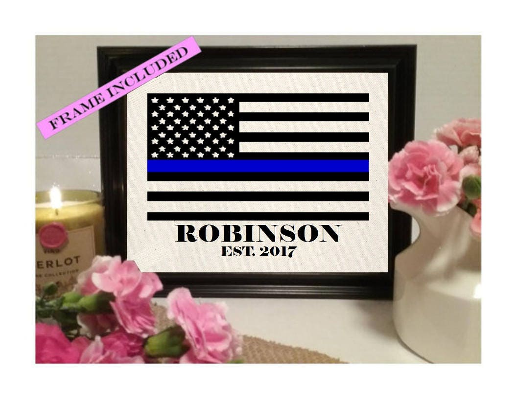 Framed police officer gift natural cotton print police zoom jeuxipadfo Choice Image