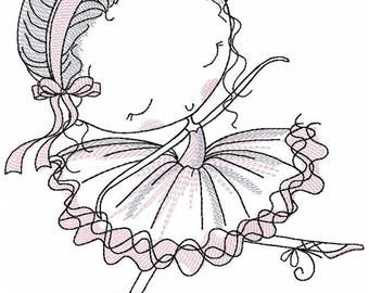 Ballerina_Machine Embroidery Design - Embroidery Ballerina 5*7, 6*8, 6*9