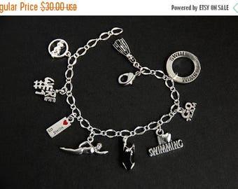 SUMMER SALE Swimming Bracelet. Swimmer Charm Bracelet. Swim Lover Sports Bracelet. Silver Bracelet. Sports Jewelry. Handmade Jewelry.