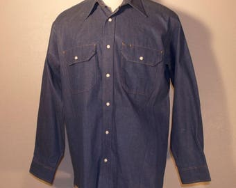Vintage Big Ben Denim Button Front Shirt Large 100% Cotton