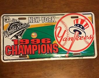 Vintage New York Yankees 1996 World Series Champions Vanity License Plate