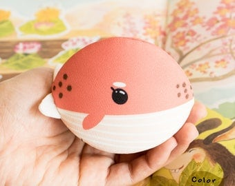 Pink whale Coin purse calm shell design. Valentine's gift. Gift for Her.Birthday gift.