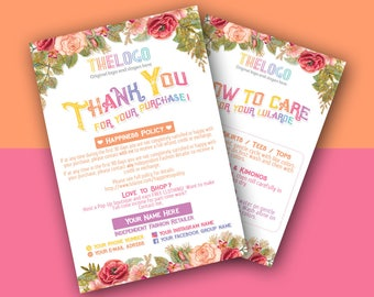 Thank You card, Care card, Thank You Cards, New happiness policy, home office approved color, llr business cards, Free personalization