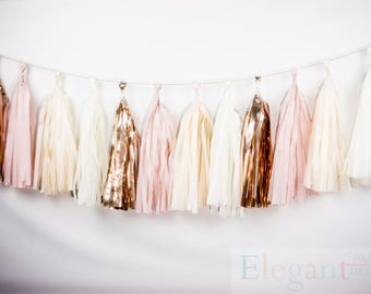 ASSEMBLED Tassel Garland Kit - Blush Pink & Gold - Champagne, Ivory, Nude, Rose Pink, Wedding Shower Tissue Paper Tassle Decor Balloon Tails