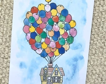 Disney Pixar UP House with Balloons Watercolour Painting Print in A5 & A4.