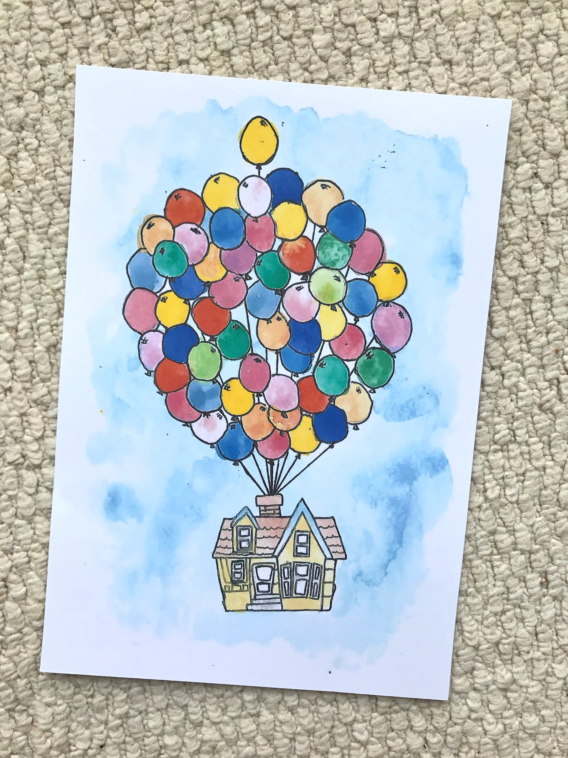 Disney Pixar UP House with Balloons Watercolour Painting Print