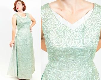 1960s Divine Minty Sequined Wonder Evening Gown - M/L