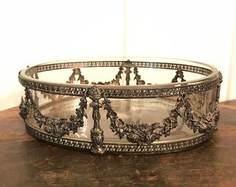 Vintage Victorian Bowl with Ornate Garland Design on Silverplate Metal Framework and Glass Insert