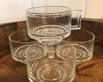 Vintage Clear Glass Mugs with Square Handles and Pedestal Base Set of 4 | Made in Italy
