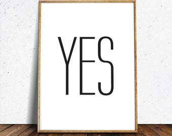 YES Print Printable, Wall Art, why hello art, why hello poster ,Art and Collectibles, Digital Prints, Home Decor, Typography, Bedroom
