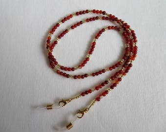 Red Agate Beaded Eyeglass Chain