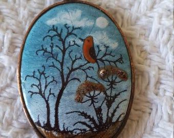 Winter bird locket