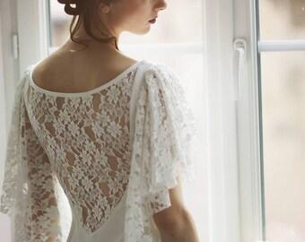 Wedding dress, vintage, lace and cotton, unique
