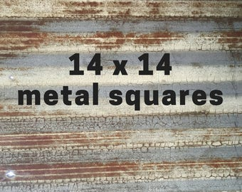 Rusty corrugated metal | Reclaimed galvanized metal sheets | 14x14 sizes | DIY crafts | Rustic home decor steampunk