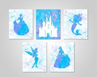 Disney Princess Bedroom Wall Art - Princess Printable Wall Decor - Princess Wall Art - Printable Wall Art - Instant Download