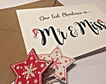 Last Christmas as Mr & Miss Card - Christmas Cards for Him - cards for her - christmas cards