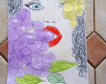 woman with grape design