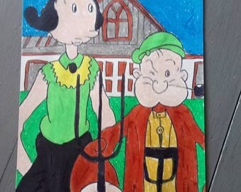drawing couple popeye and olive