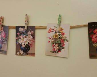 Make your own floral postcard bunting kit .