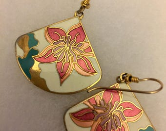 Vintage Cloisonné Meow Earrings, Vintage Enamel Dangle Earrings