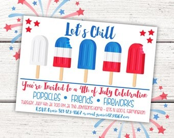 4th of July Invitation,4th of July Popsicle Invitation,Printable 4th of July Invitation,Popsicle Invitation,Independence Day Invitation
