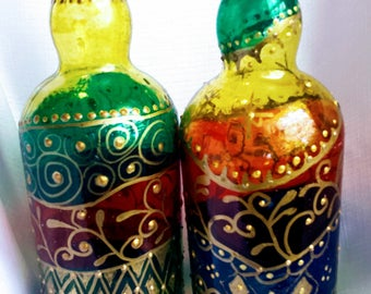 Hand Painted Sealed Glass Bottles-Decorative Decanter-Oil Bottle-Painted Glass Bottle-Soap Dispenser-Liquor Bottle-BOHO-OOAK-Cool Gift