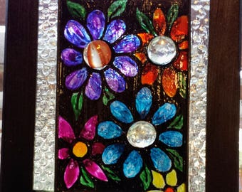 Made to Order-Small-Faux Stained Glass Window Panel-Window Art-Sun Catcher-Modern-Glass Design-Christmas Gift-House Gift-Flowers-Daisies