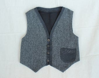Boys formal vest, Wool toddler vest, personalised and custom with the name of your kid