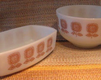Federal glass-FEG 21- 2  white ovenware glass dishes set with bowl -casserole-and batter bowl with brown flower design-1960