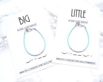 BIG LITTLE sorority morse code bracelets set, minimalist dainty bracelet, Big sister gift, BFF gift, Best friends, little sister gift